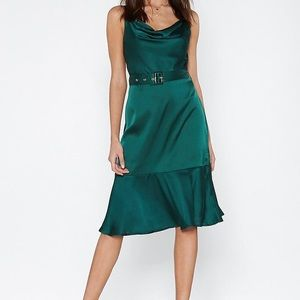 Nasty gal green satin dress
